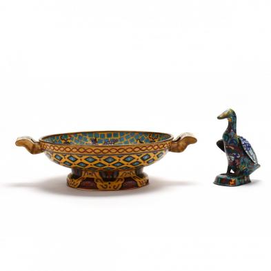 a-chinese-cloisonne-center-bowl-and-duck