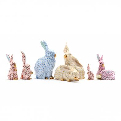 six-herend-porcelain-rabbits