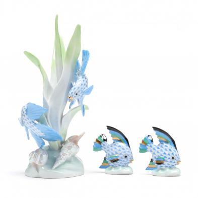 three-sea-life-herend-porcelain-figurines