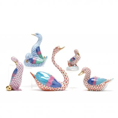 five-herend-porcelain-fishnet-ducks