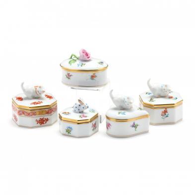 five-herend-porcelain-trinket-boxes