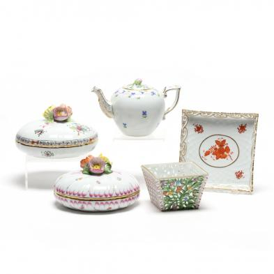 a-group-of-five-decorative-herend-accessory-porcelains