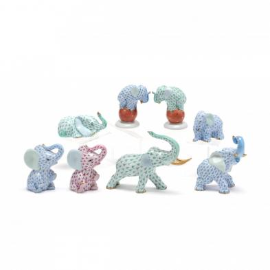 a-group-of-eight-herend-fishnet-elephants