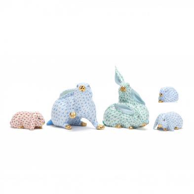 five-herend-porcelain-fishnet-rabbits