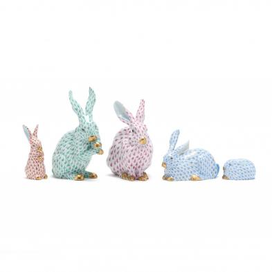five-herend-porcelain-fishnet-rabbits