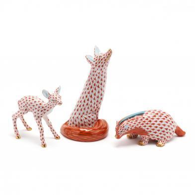 three-herend-porcelain-animal-figurines