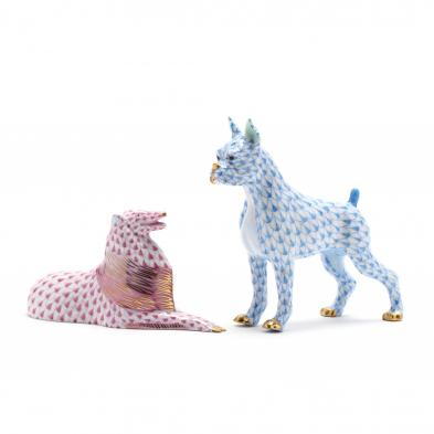 two-herend-porcelain-dog-figurines