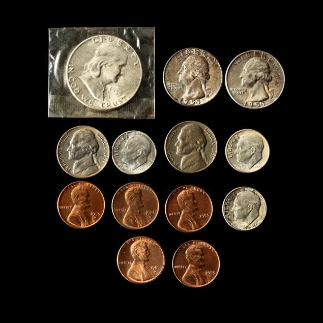 uncirculated-complete-eleven-coin-p-d-s-set-for-1955