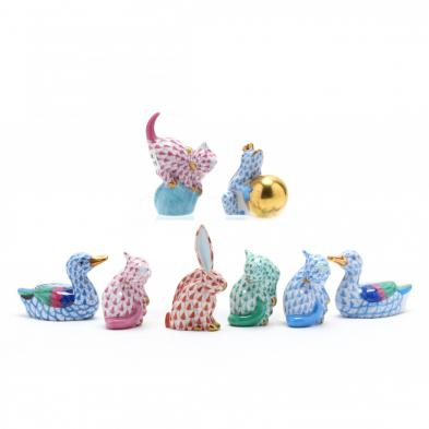 eight-miniature-herend-porcelain-animals