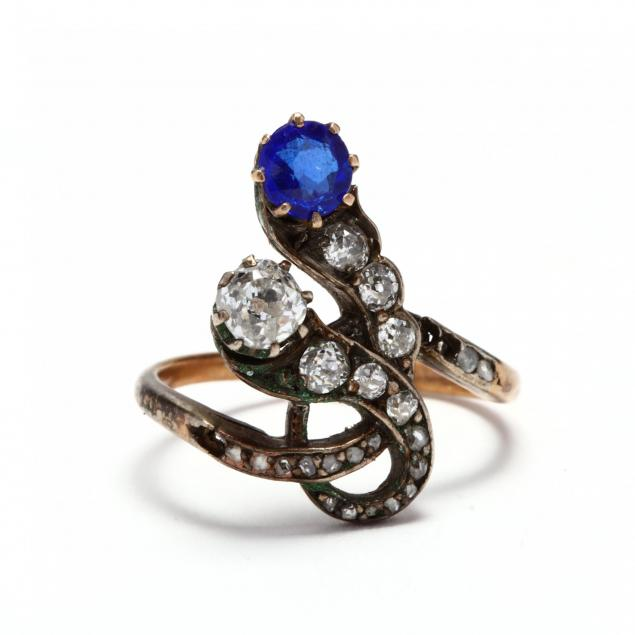 antique-silver-topped-gold-diamond-and-sapphire-simulant-serpent-ring