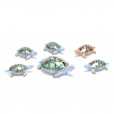 six-herend-porcelain-turtles