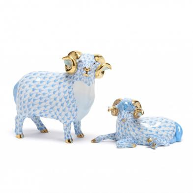 two-herend-porcelain-blue-fishnet-rams