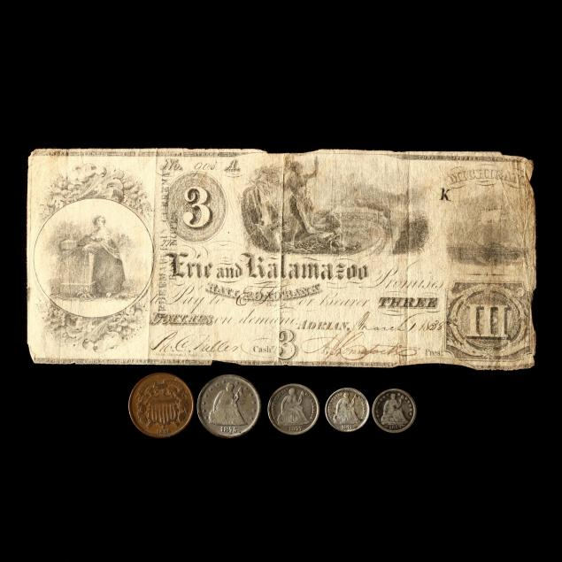 five-19th-century-type-coins-and-an-obsolete-bank-note