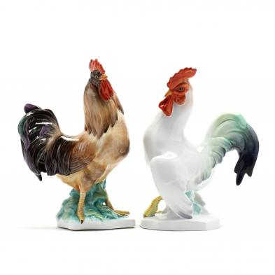 two-herend-natural-porcelain-chicken-figurines