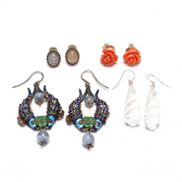 four-pairs-of-silver-and-gemstone-earrings