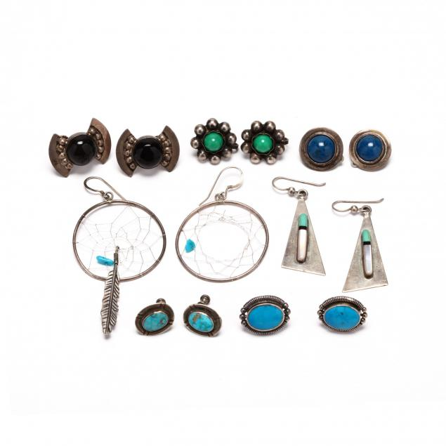 seven-pairs-of-silver-and-gemstone-earrings