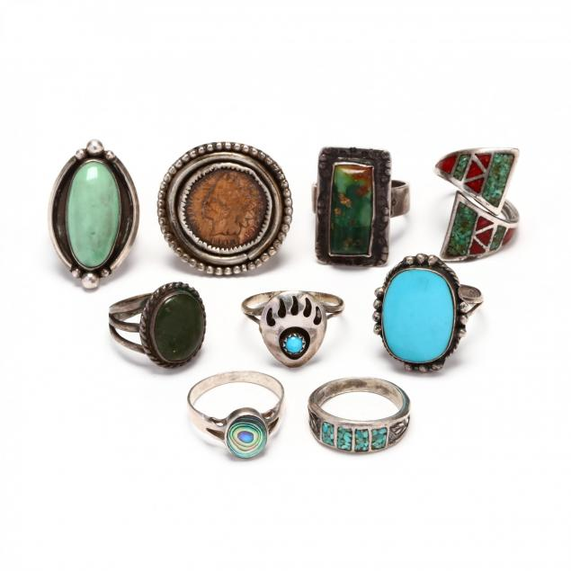 nine-silver-and-gemstone-rings