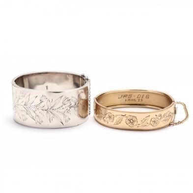 two-vintage-bangle-bracelets