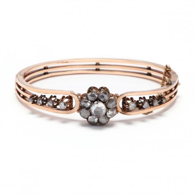 antique-rose-gold-diamond-bangle-bracelet