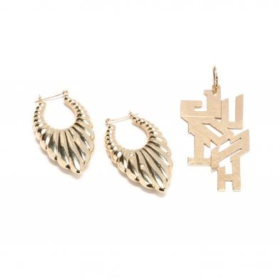 a-pair-of-10kt-gold-hoop-earrings-and-a-14kt-gold-pendant