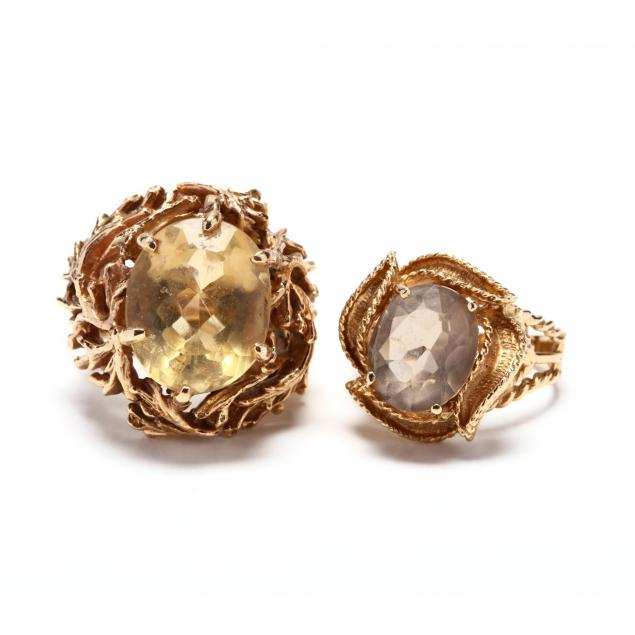 two-14kt-gold-and-gemstone-rings