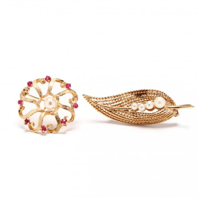 two-gold-and-gemstone-brooches