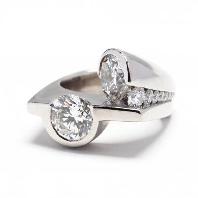 important-palladium-and-two-stone-diamond-ring-jewelsmith