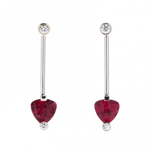 platinum-rubellite-tourmaline-and-diamond-earring-jackets-with-diamond-studs-jewelsmith
