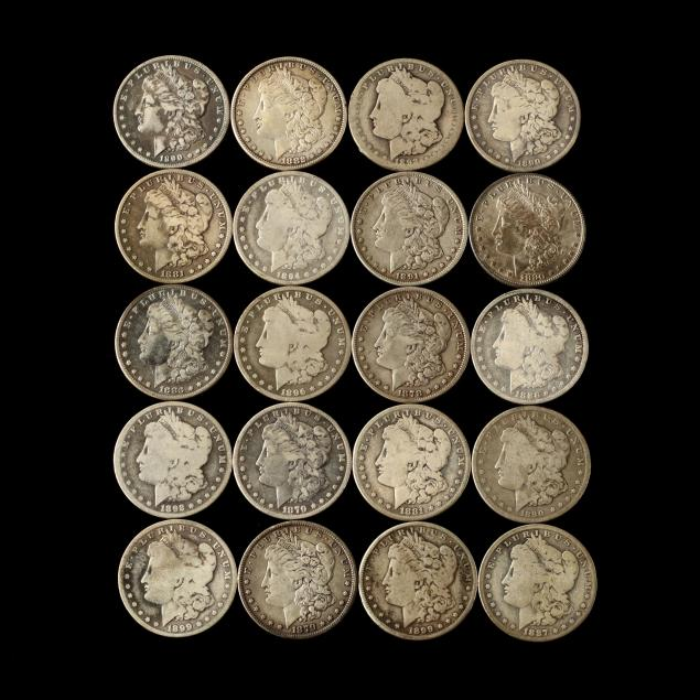 twenty-circulated-19th-century-morgan-silver-dollars