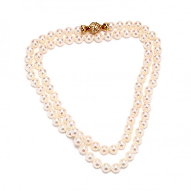 a-fine-single-strand-saltwater-cultured-pearl-necklace-with-18kt-gold-and-diamond-clasp