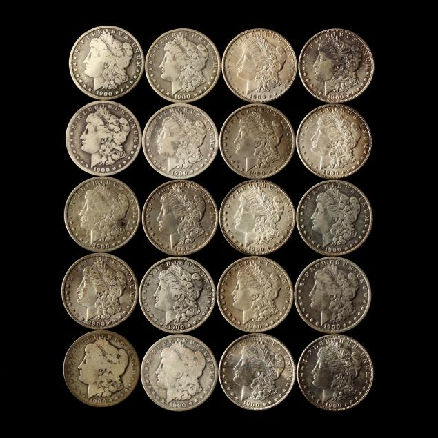 twenty-circulated-1900-dated-morgan-silver-dollars