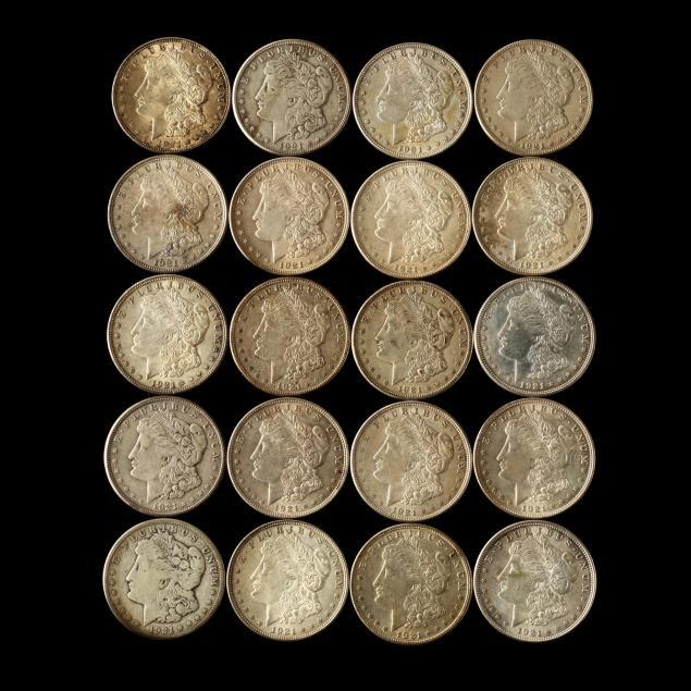 twenty-circulated-1921-dated-morgan-silver-dollars