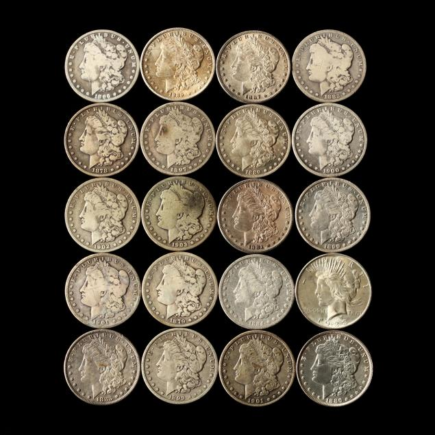twenty-circulated-mixed-morgan-and-peace-silver-dollars