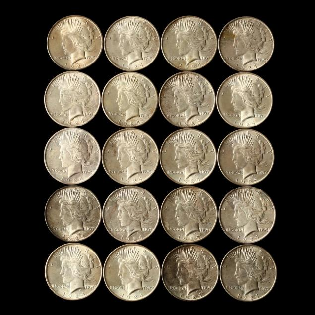twenty-better-grade-1924-peace-silver-dollars