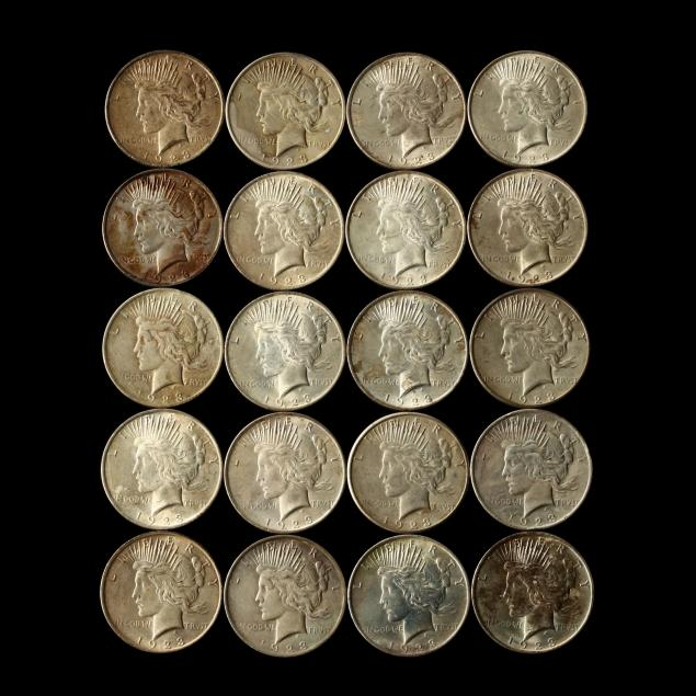 twenty-circulated-1923-peace-silver-dollars