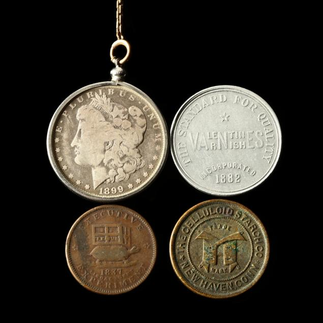 mounted-silver-dollar-and-three-tokens