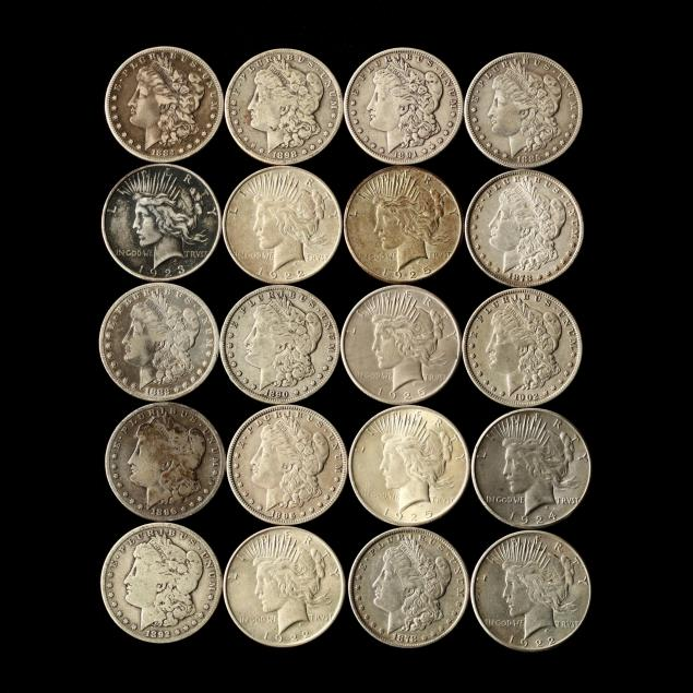 twenty-mixed-circulated-morgan-and-peace-silver-dollars