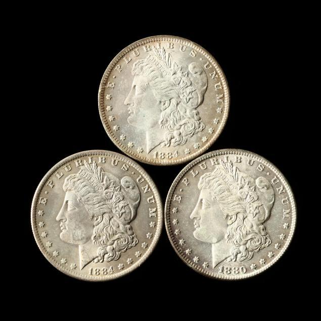 three-uncirculated-morgan-silver-dollars
