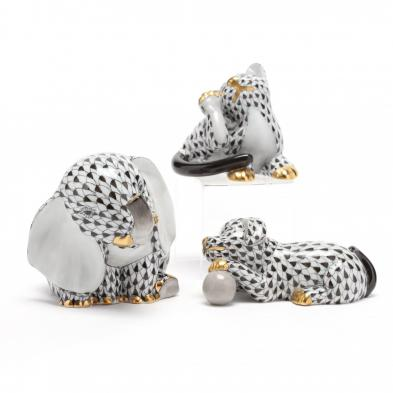 three-herend-porcelain-black-fishnet-animals