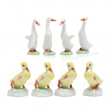 eight-herend-porcelain-ducklings