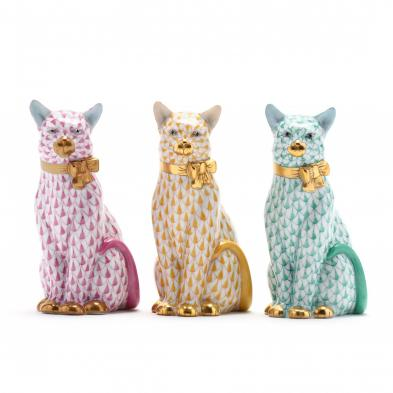 three-herend-porcelain-fishnet-seated-cats
