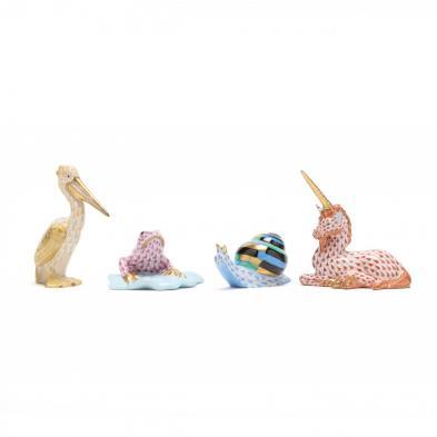 four-herend-porcelain-fishnet-figures