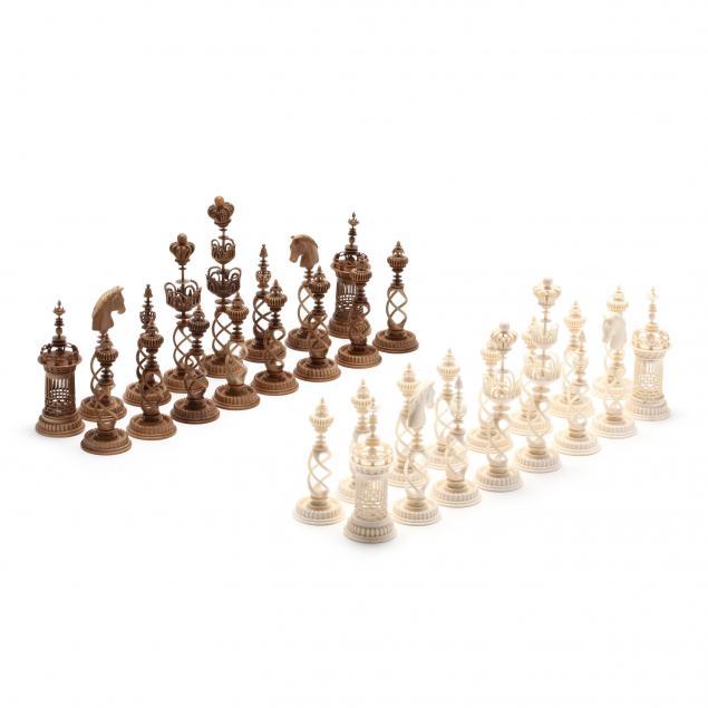 oleg-raikis-russia-20th-century-danish-selenus-style-mammoth-ivory-chess-set