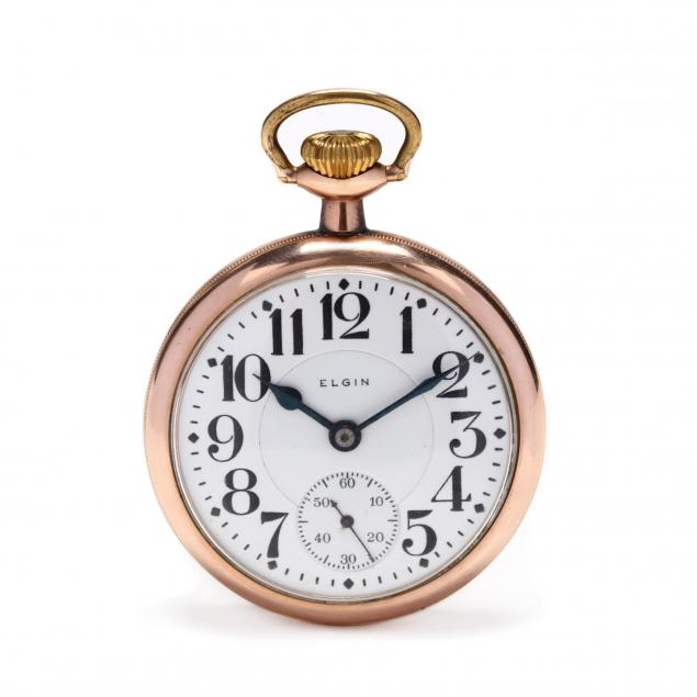 antique-gold-filled-open-case-b-w-raymond-pocket-watch-elgin