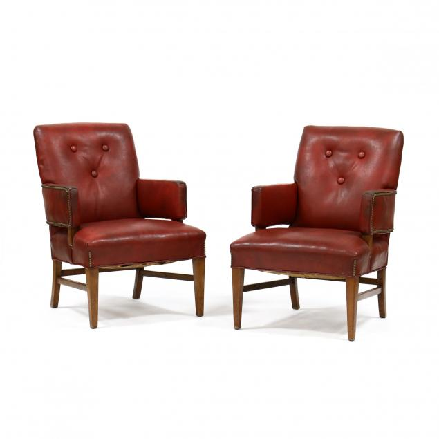 pair-of-mid-century-upholstered-armchairs