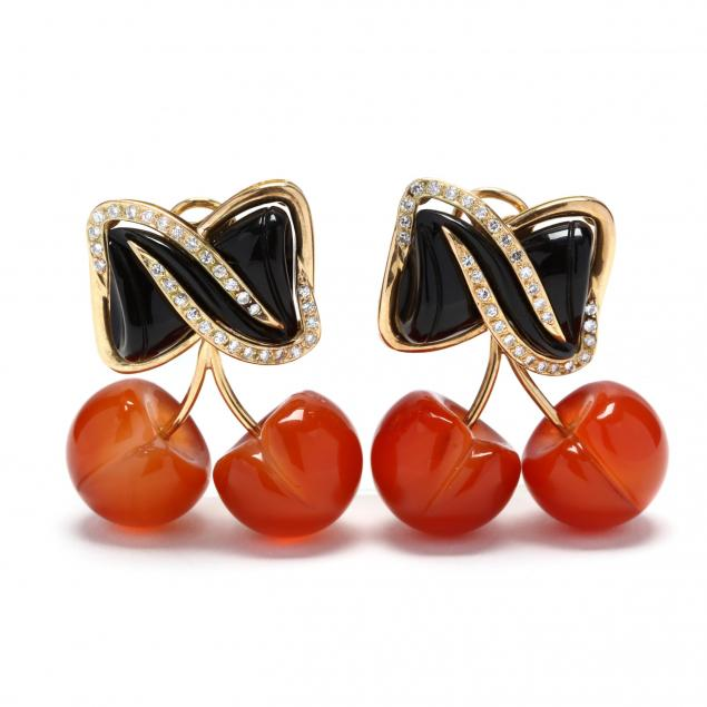 18kt-gold-onyx-carnelian-and-diamond-earrings