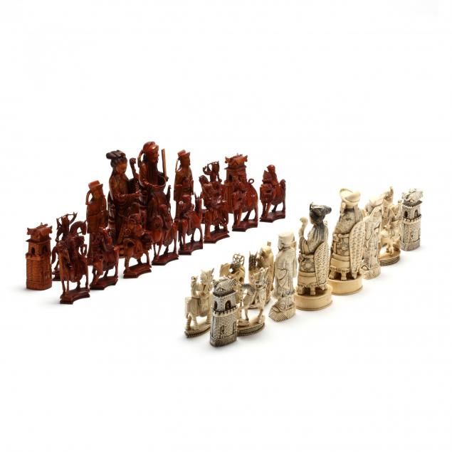 antique-chinese-figural-ivory-chess-set-with-board