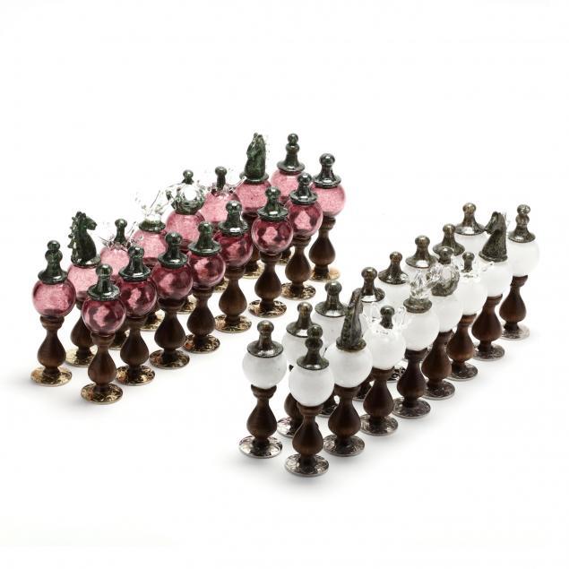 murano-blown-glass-chess-set