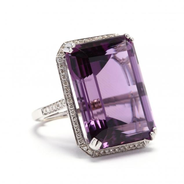 white-gold-amethyst-and-diamond-ring