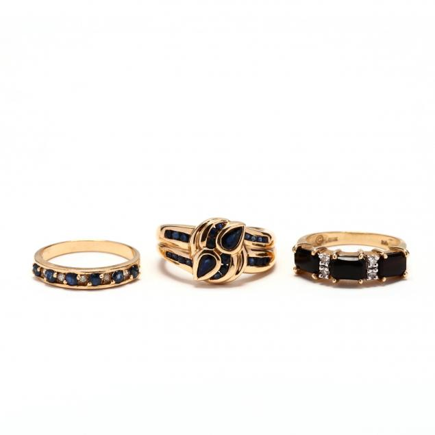 three-14kt-gold-and-gem-set-rings
